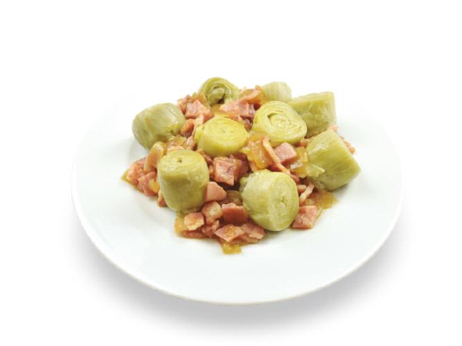 Artichauts aux lardons et oignons caramélisés