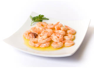 Prawns with fried garlic