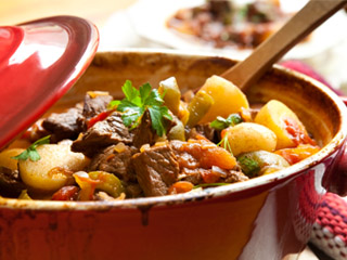 Stewed beef meat, goulash style