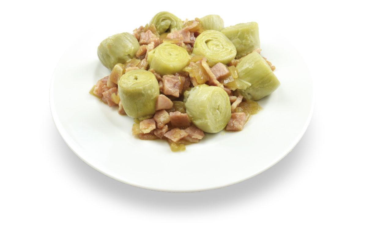 Alcachofa con bacon y cebolla caramelizada